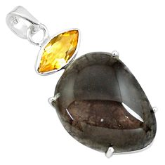20.92cts natural brown agni manitite citrine 925 sterling silver pendant p79102