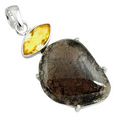 21.53cts natural brown agni manitite citrine 925 sterling silver pendant p79112