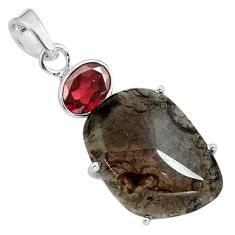 16.44cts natural brown agni manitite garnet 925 sterling silver pendant p79103