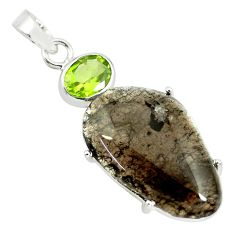 15.93cts natural brown agni manitite peridot 925 sterling silver pendant p70877