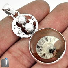 NATURAL BROWN AMMONITE CRYSTALLIZED 925 SILVER CRESCENT MOON STAR PENDANT G27829