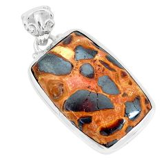 19.72cts natural brown bauxite 925 sterling silver pendant jewelry p34147