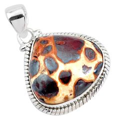 19.72cts natural brown bauxite 925 sterling silver pendant jewelry p40934