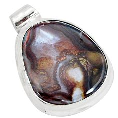 15.65cts natural brown boulder opal 925 sterling silver pendant jewelry p35873