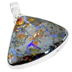 39.93cts natural brown boulder opal 925 sterling silver pendant jewelry p65202