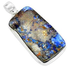 34.33cts natural brown boulder opal 925 sterling silver pendant jewelry p65250