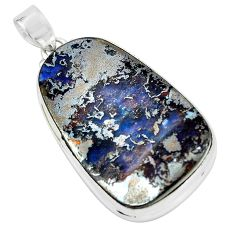 34.94cts natural brown boulder opal 925 sterling silver pendant jewelry p65260