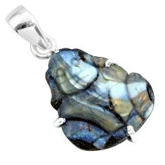 18.14cts natural brown boulder opal carving 925 silver dog charm pendant p69398