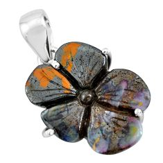 15.93cts natural brown boulder opal carving 925 silver flower pendant p69355