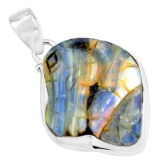 19.68cts natural brown boulder opal carving 925 sterling silver pendant p59205