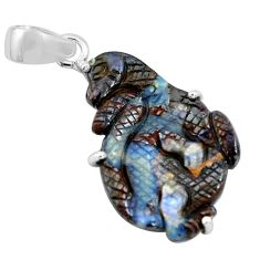 16.44cts natural brown boulder opal carving 925 sterling silver pendant p69354