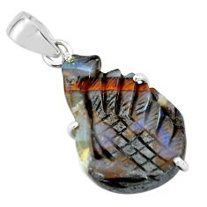 18.73cts natural brown boulder opal carving 925 sterling silver pendant p69378