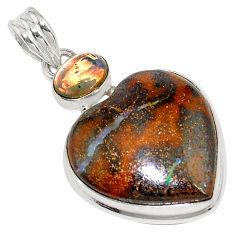 24.00cts natural brown boulder opal ethiopian opal 925 silver pendant p76279