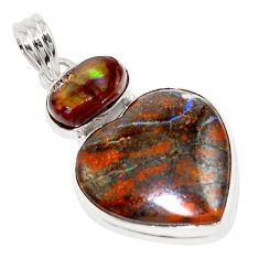 26.16cts natural brown boulder opal mexican fire agate 925 silver pendant p76223
