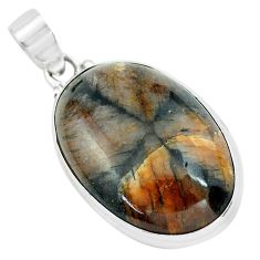 28.86cts natural brown chiastolite 925 sterling silver pendant jewelry p66181