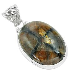 19.84cts natural brown chiastolite 925 sterling silver pendant jewelry p66182