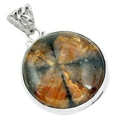 32.14cts natural brown chiastolite 925 sterling silver pendant jewelry p66183
