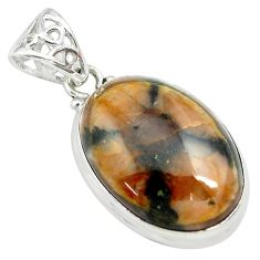 26.16cts natural brown chiastolite 925 sterling silver pendant jewelry p71998