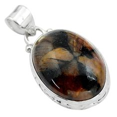 18.12cts natural brown chiastolite 925 sterling silver pendant jewelry p85491