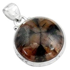 20.88cts natural brown chiastolite 925 sterling silver pendant jewelry p85497