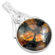 20.88cts natural brown chiastolite 925 sterling silver pendant jewelry p85501