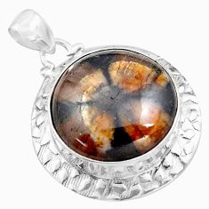 26.89cts natural brown chiastolite 925 sterling silver pendant jewelry p85510