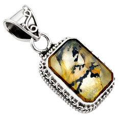 8.96cts natural brown dendritic quartz 925 sterling silver pendant p84601