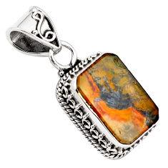 9.14cts natural brown dendritic quartz 925 sterling silver pendant p84607