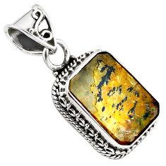8.70cts natural brown dendritic quartz 925 sterling silver pendant p84610