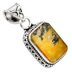 9.14cts natural brown dendritic quartz 925 sterling silver pendant p84618