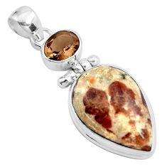 20.51cts natural brown garnet in limestone spessartine 925 silver pendant p41210
