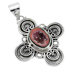 5.10cts natural brown geode druzy 925 sterling silver pendant jewelry p33406