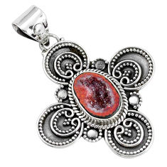 5.27cts natural brown geode druzy 925 sterling silver pendant jewelry p33413