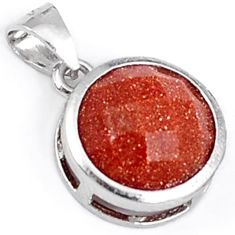 Natural brown goldstone round 925 sterling silver pendant jewelry h45886