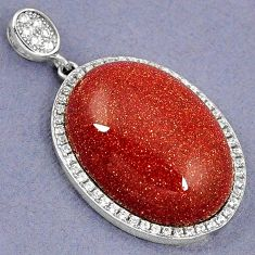 NATURAL BROWN GOLDSTONE WHITE TOPAZ 925 STERLING SILVER PENDANT JEWELRY H5649
