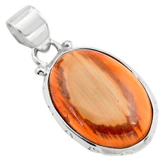12.72cts natural brown imperial jasper 925 sterling silver pendant p85162