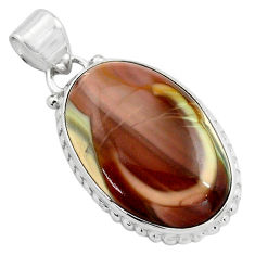 17.22cts natural brown imperial jasper 925 sterling silver pendant p85167