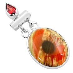 16.20cts natural brown imperial jasper garnet 925 sterling silver pendant p85182