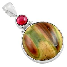 16.73cts natural brown imperial jasper garnet 925 sterling silver pendant p85186
