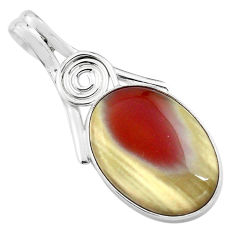 13.70cts natural brown imperial jasper oval 925 sterling silver pendant p85181