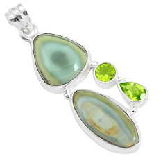 22.23cts natural brown imperial jasper peridot 925 silver pendant p34051
