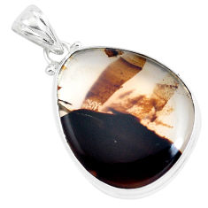 20.51cts natural brown montana agate 925 sterling silver pendant jewelry p40769