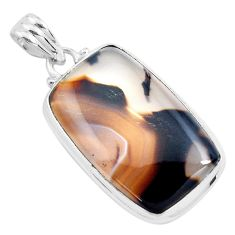 18.70cts natural brown montana agate 925 sterling silver pendant jewelry p40800