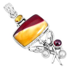 22.29cts natural brown mookaite 925 silver angel wings fairy pendant p49503