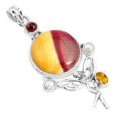 21.80cts natural brown mookaite 925 silver angel wings fairy pendant p49549
