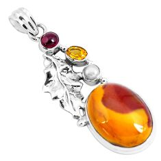 22.22cts natural brown mookaite citrine 925 silver deltoid leaf pendant p49461