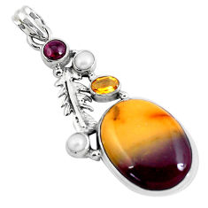 21.30cts natural brown mookaite citrine 925 silver deltoid leaf pendant p49481