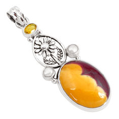 20.75cts natural brown mookaite citrine 925 silver flower pendant jewelry p49551