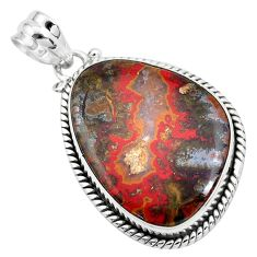 22.07cts natural brown moroccan seam agate 925 sterling silver pendant p41169