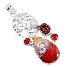 22.75cts natural brown moroccan seam agate silver tree of life pendant d31091